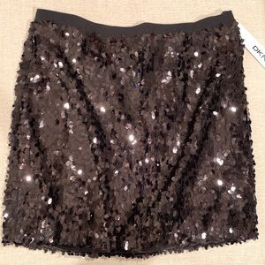 DKNY Black Sequin Mini Skirt, S